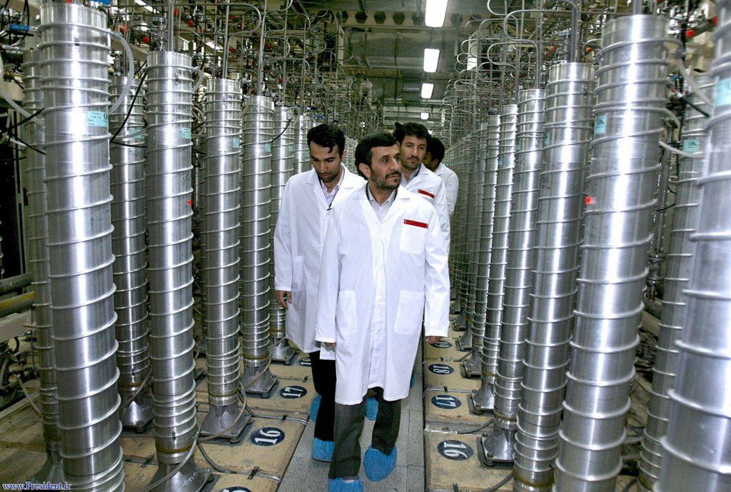 Former Iranian President Mahmoud Ahmadinejad tours the centrifuge facility at Natanz in 2008.