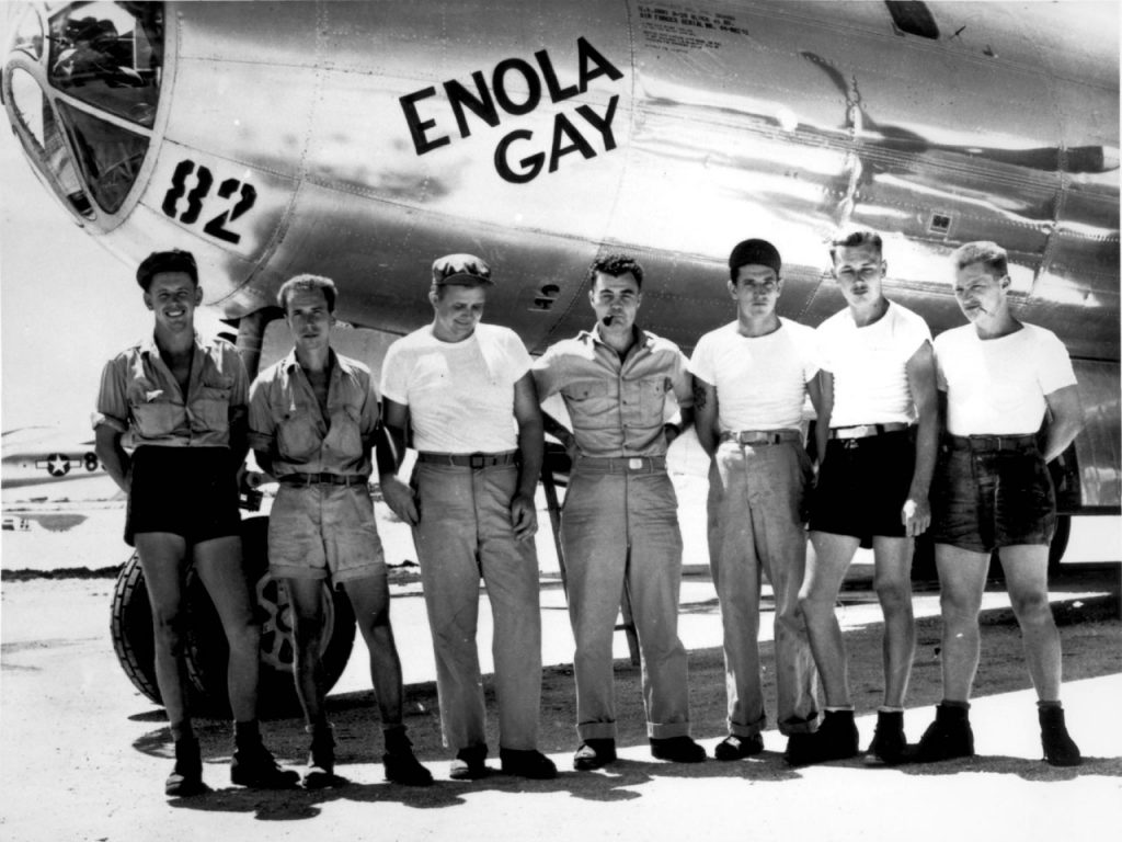 The crew of the Enloa Gay, who dropped the first atomic bomb on Hiroshima in 1945.