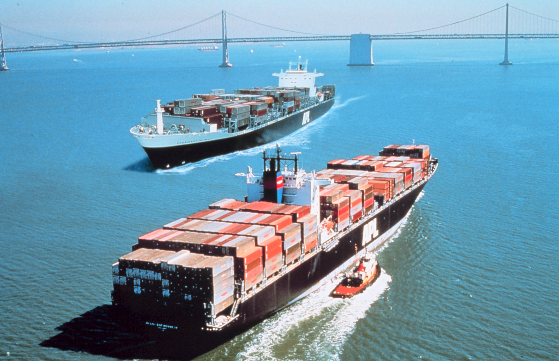 Two cargo ships in San Francisco Bay.