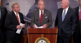 Senators Chuck Grassley (R-IA), Dick Durbin (D-IL), and Patrick Leahy (D-VT) speak at a press conference introducing the Sentencing Reform and Corrections Act of 2015. Source: jjie.org