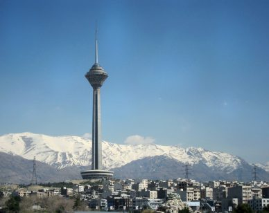 View of Tehran's Milad Tower and the Alborz Mountain range in the background. Photo courtesy Oruj Travel Co.
