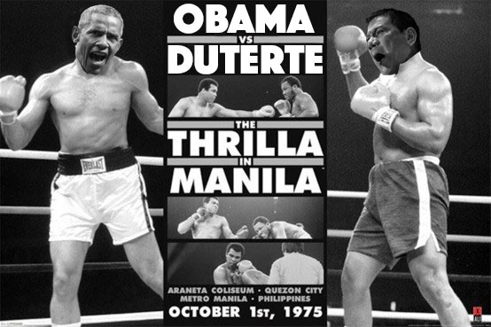 Barack Obama and Rodrigo Duterte photoshopped over Muhammad Ali and Joe Frazier