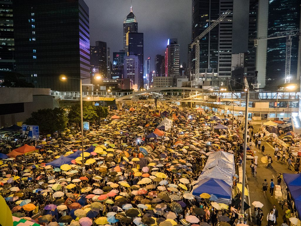 Harcourt Road in Hong Kong during the Umbrella Revolution