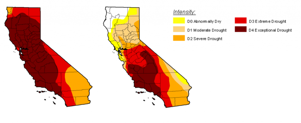 Comparing drought levels from August 2014 (left) and November 2016 (right)