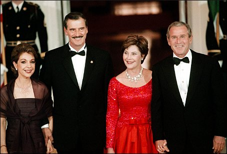 Sept. 5, 2001: Mexican First Lady Martha Sahagun and Mexican President Vicente Fox pose with President George W. Bush and First Lady Laura Bush at the Bushes' first state dinner, held in Fox's honor. (Michael Lutzky/The Washington Post)