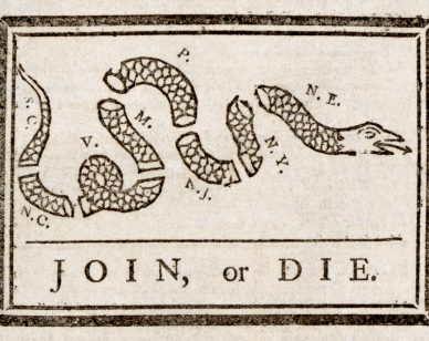 """""""Join or Die"""", America's first political cartoon, advocated having the colonies join together to form a Union."""
