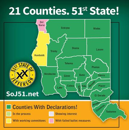 The California counties looking to break off and form the State of Jefferson. From SoJ51.net