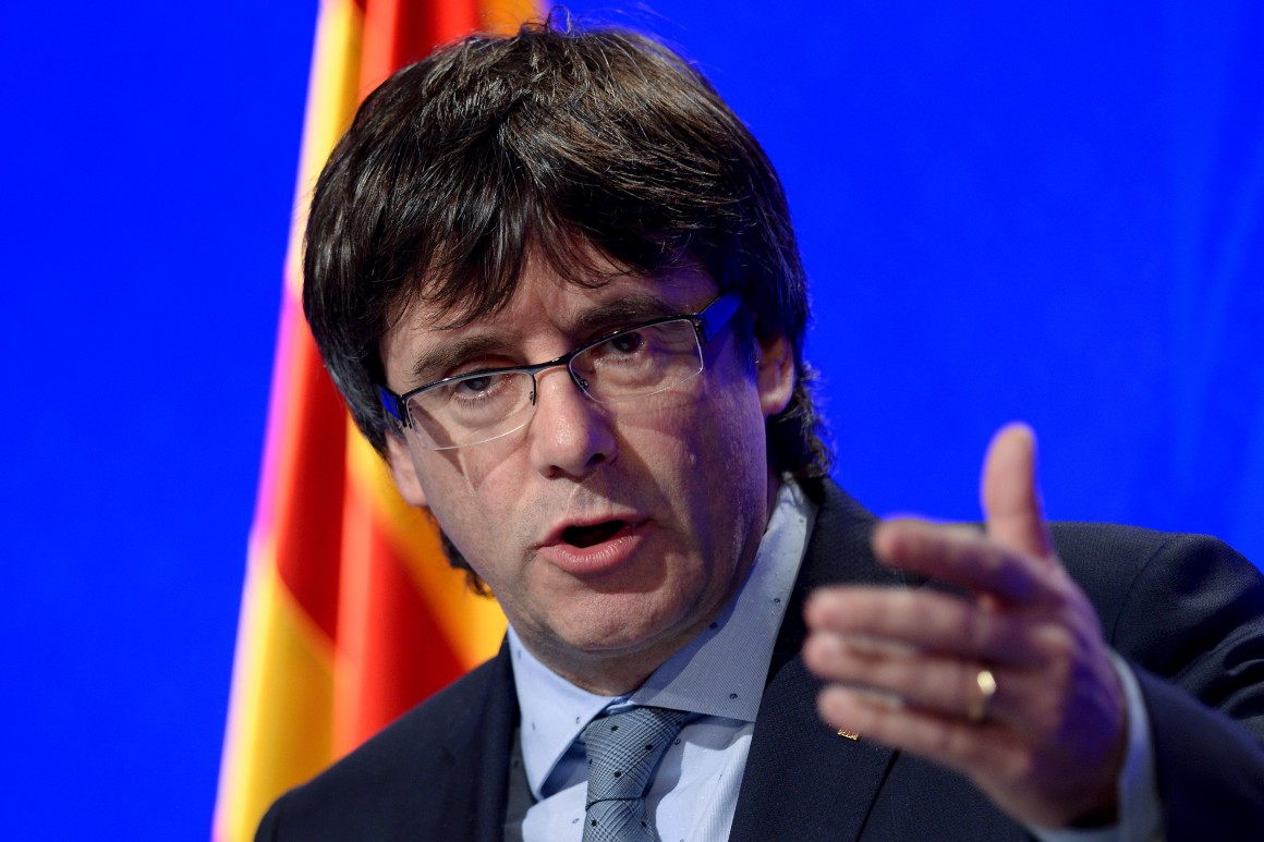 Catalan president Carles Puigdemont at the Generalitat palace. Photo Credit: Josep Lago/AFP via Getty Images