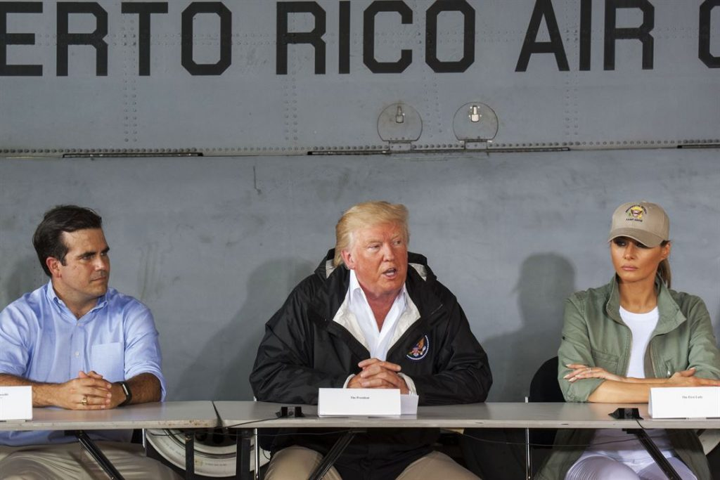 President Trump visits Puerto Rico after the hurricane. Source: Department of Defense