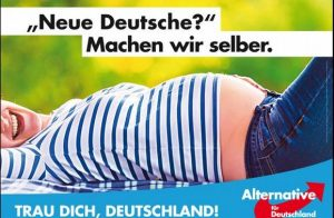 Featured AfD campaign poster calls for native German women to have more children to preserve the dominant German culture and ethnicity.