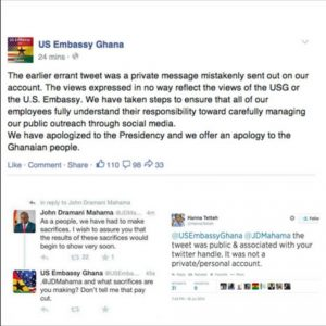 The US embassy caused a stir in Ghana