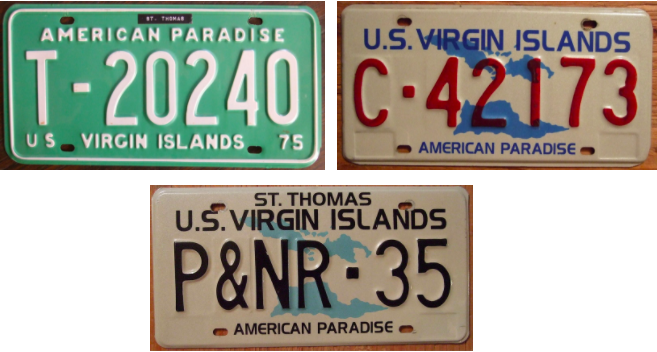 "License plates in the U.S. Virgin Islands deem the islands to be ""American Paradise"". Source: Wikimedia"