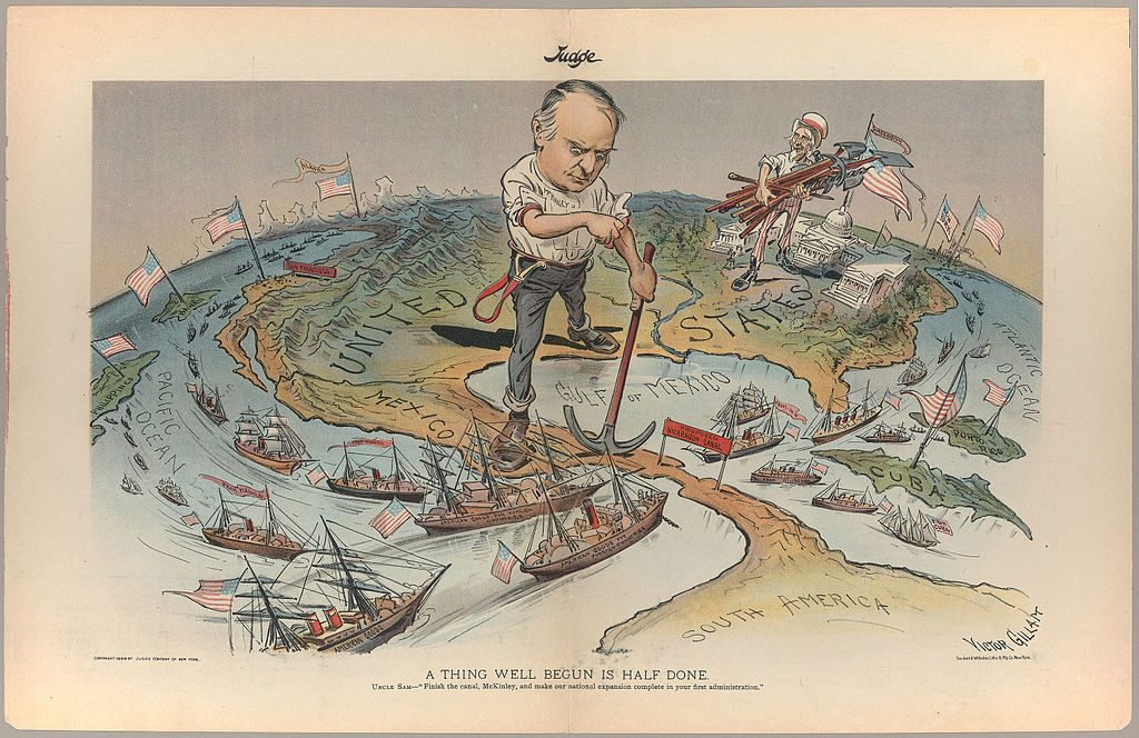 A political cartoon depicting America's imperial ambitions after the Spanish-American War. Source: Wikimedia Commons