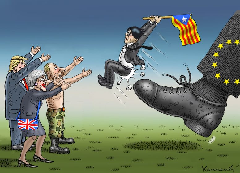 Media has exaggerated connections between the Catalan independence movement and other dramatic EU-related political events. Photo credit: www.cartoonmovement.com