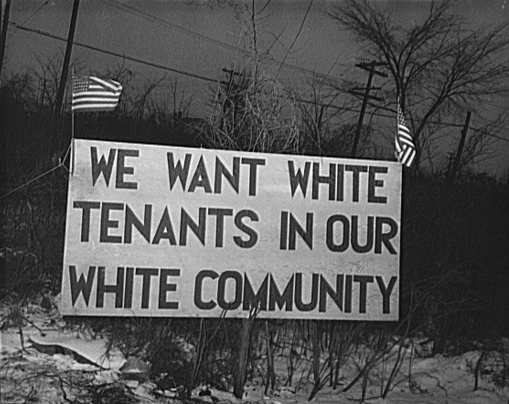 1942: White tenants in a Detroit suburb trying to prevent African Americans from moving in. (Source: Wikimedia)