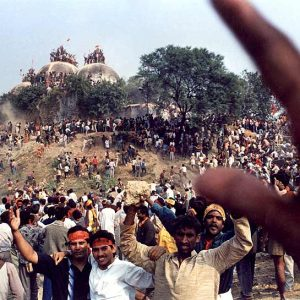 Hindu nationalist volunteers celebrating during the demolition. Source: Outlook India