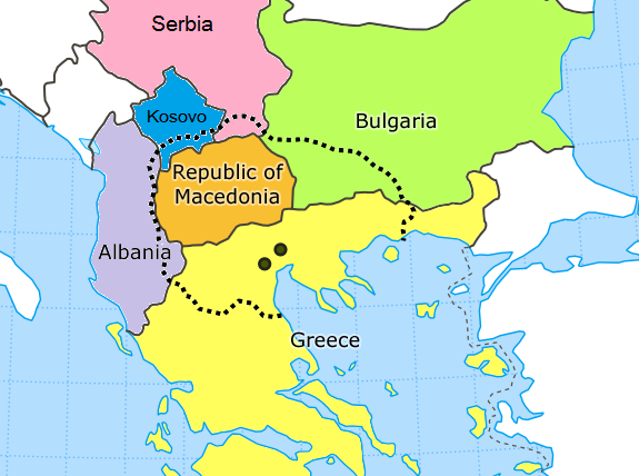 Modern day separation of Greece and Macedonia. Source: Wikimedia Commons