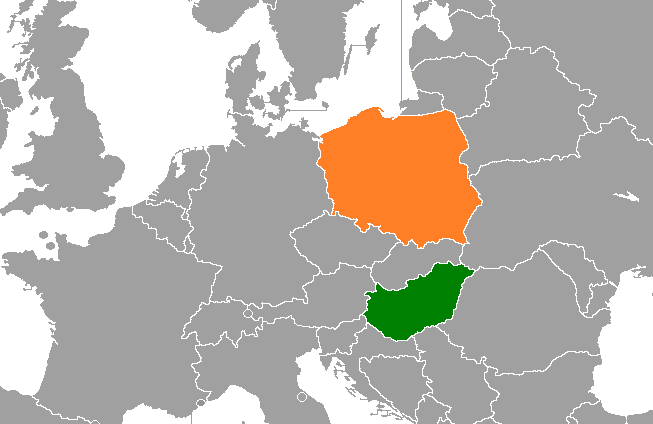 Hungary (green) and Poland (orange) in relation to each other geographically. Source: Wikimedia Commons