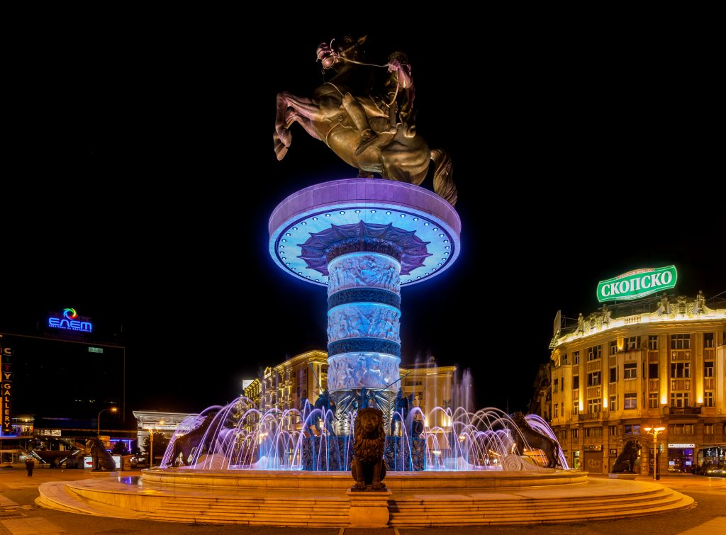 Statue of Alexander the Great in the center of Macedonia's capital. Source: Wikimedia Commons