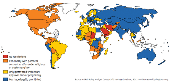 Restrictions on underage marriage by nation. (Image Source: The Clinton Foundation via The Atlantic)