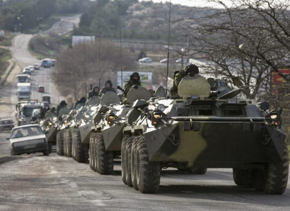 Unmarked Russian troops move through Crimea before Russian annexation of Crimea, photograph by NATO Association of Canada.