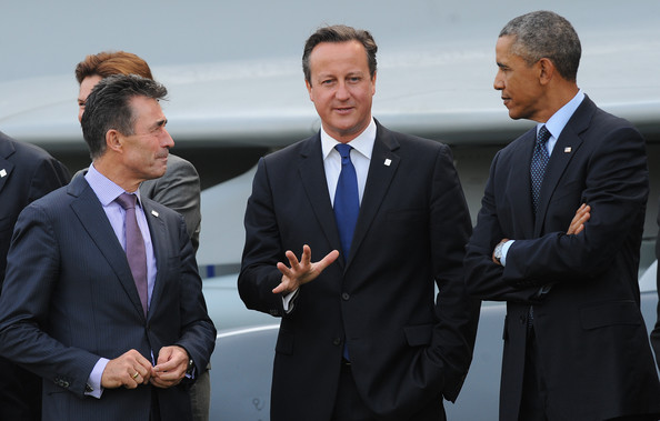 (From left to right) Anders Fogh Rasmussen, former British Prime Minister David Cameron, and former US President Barack Obama at the 2014 NATO Summit. Credit: Zimbio
