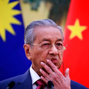 Malaysian Prime Minister Mahathir Mohamad speaking at a news conference at the Great Hall of the People in Beijing. Source: Washington Post