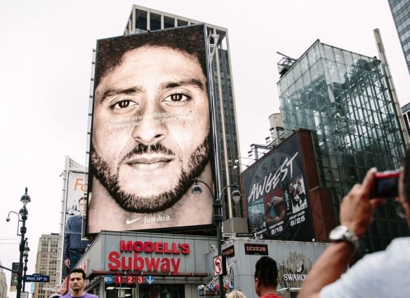 Nike's new ad campaign billboard featuring former NFL quarterback, Colin Kaepernick, can be seen in midtown Manhattan, in New York.