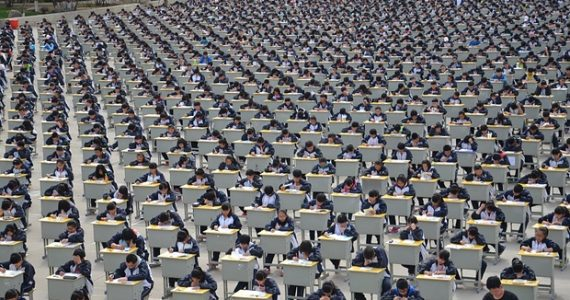 Students take the gaokao  Image sourced from MingJing Times
