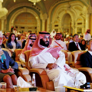 Crown Prince MBS at Davos in the Desert Conference Image Source: NBC News