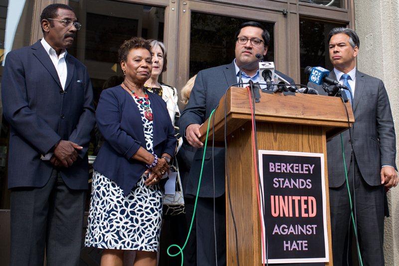 "Berkeley Mayor Jesse Arreguín unveils his ""United Against Hate"" campaign in August 2017, flanked by Congresswoman Barbara Lee (D-CA). Source: Berkeleyside"