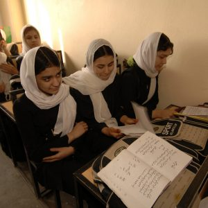 Afghan women attending class, Kandahar City, Afghanistan, 15 February 2006. (U.S. Army Photo by Spc. Leslie Angulo) (Released)