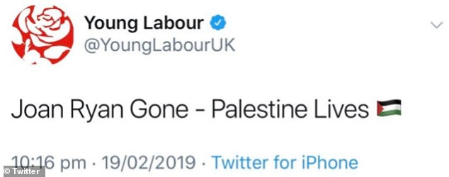 Young Labour tweet in response to Joan Ryan quitting the party amid concerns about Jeremy Corbyn's leadership