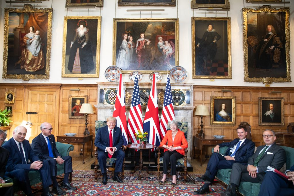 """Theresa May and Donald Trump in 2018. Jeremy Corbyn could seek to change the """"special relationship"""" between the UK and the US, should he become Prime Minister. (Source: The White House)"""