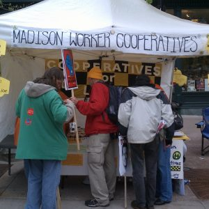 Worker cooperatives campaign in Madison, Wisconsin. Image by Albert Herring.