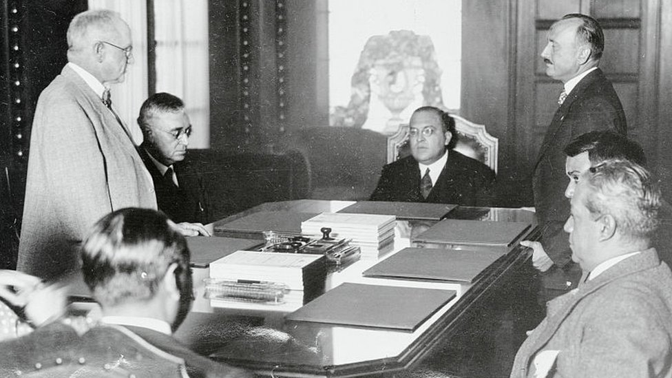 Genaro Estrada in a conference